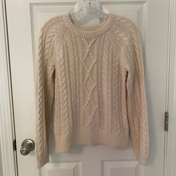 Chunky cable crew neck knit sweater in off white
